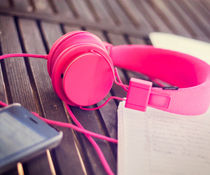 headphones, pink, and music image