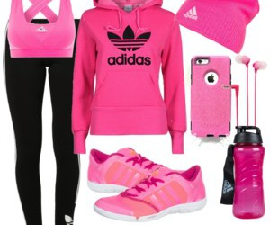 black, outfit, and adidas image