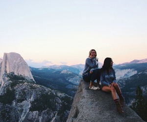 girl, friends, and mountains image