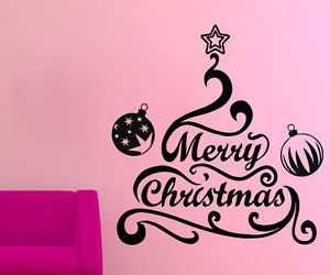 christmas tree, merry christmas, and wall decals image