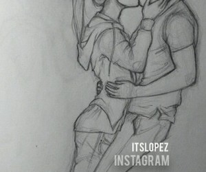 drawing and kiss couple boy&girl cute image