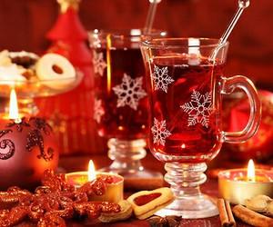christmas, candle, and tea image