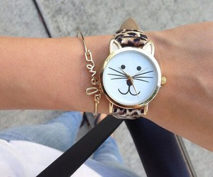 cat, fashion, and watch image