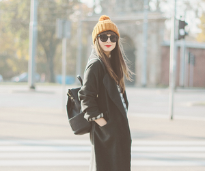beanie, girl, and red lips image