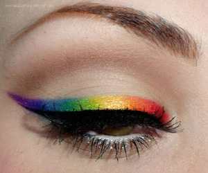 cat eye, rainbow, and eyebrows image