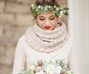 wedding, winter, and bride image