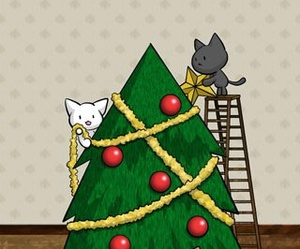 cat, christmas tree, and animal image