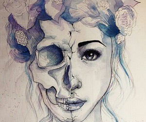 face, flower crown, and flowers image