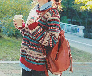 bagpack, fashion, and sweaters image