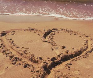 beautiful, heart, and sand image