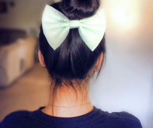 bow, bun, and hair image