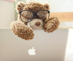 cute, bear, and apple image