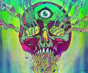 skull and psychedelic image