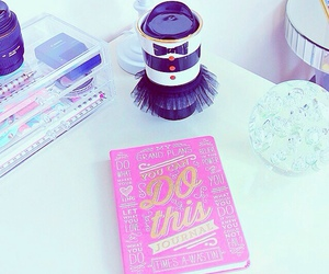 book, desk, and pink image