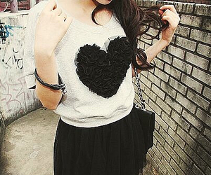 black and white, fashion, and heart image