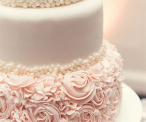 cake, wedding, and pink image