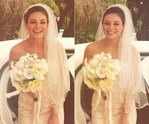 wedding, Mila Kunis, and flowers image