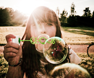 blow, blowing bubbles, and sunshine image