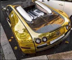 gold, bugatti, and car image