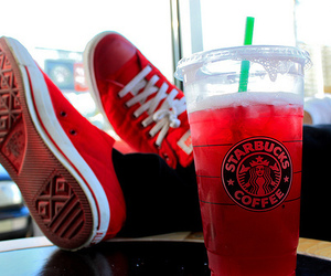 starbucks, red, and shoes image