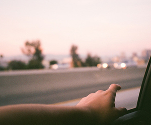 car, hand, and sky image