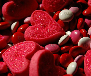 candy, heart, and red image