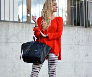 heels, red sweater, and fall fashion style image