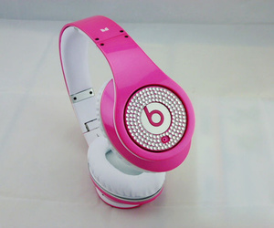 beats, pink, and headphones image
