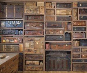 suitcase, vintage, and wall image