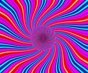 optical illusion symmetry, screen saver colorful, and swirling moving trippy image