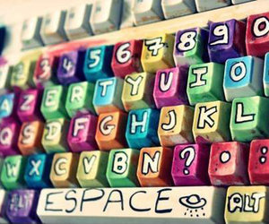 keyboard, colors, and cool image
