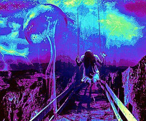 lightning electric blue, depression swing alone, and girl mystical canyon image