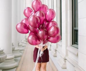 balloons, pink, and girl image