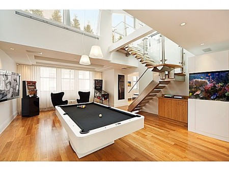 Furniture. The Sweet Design Of The Pool Table In Living Room ...