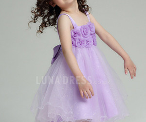 purple flower girl dress image