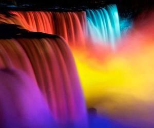 waterfall, rainbow, and water image