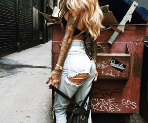 girl, tattoo, and style image