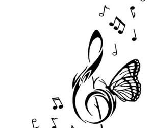 butterfly, clef, and music image