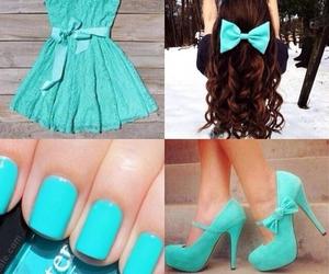 dress, hair, and aqua image