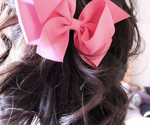 bow, hair, and pink image