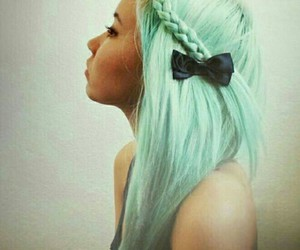 hair, mint color, and mint hair image