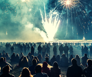 fireworks, people, and night image