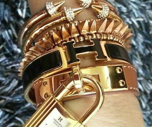 bracelet, gold, and hermes image