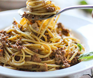 meat, pasta, and sauce image
