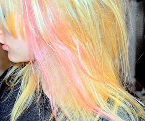 hair, pink, and yellow image