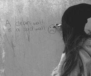 girl, wall, and sad image