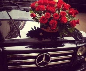 rose, car, and mercedes image