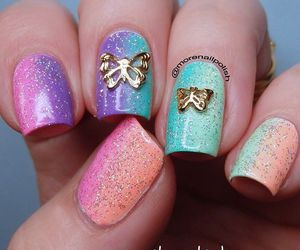 butterfly, colorful, and nail art image