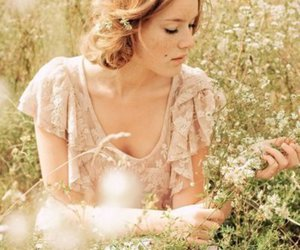 girl, field, and flowers image