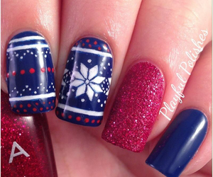 blue, nails, and red image